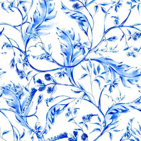 ultramarine blue: Blue watercolor ultramarine flower vintage baroque seamless pattern with swirls, natural wallpaper, floral decoration curl illustration