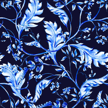 Blue watercolor ultramarine flower vintage baroque seamless pattern with swirls, natural wallpaper, floral decoration curl illustration on dark