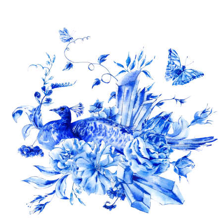schmetterlinge blau wasserfarbe: Weinlese-blauer Pfau mit Aquarell Rosen, Edel Kristalle und Schmetterlinge im Boho-Stil, Aquarell natürliche Grußkarte, Dekoration Natur Blume Hintergrund Lizenzfreie Bilder