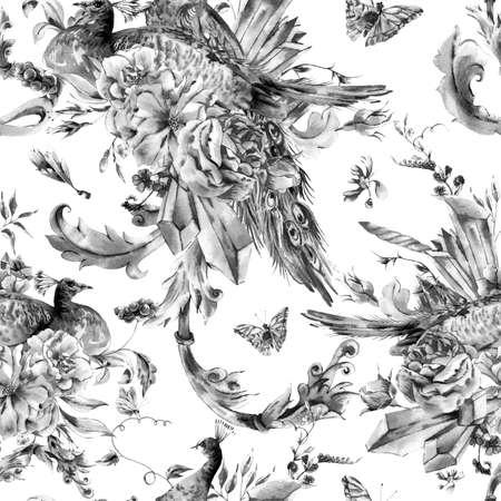 rosas blancas: época perfecta patrón de blanco y negro con un par de pavos reales con las rosas de la acuarela, cristales preciosos, mariposas en el estilo boho, tarjeta de felicitación de la acuarela naturales, decoración fondo la naturaleza de la flor