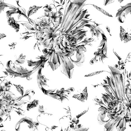monochrome: Black and white vintage hand painted seamless pattern with watercolor roses, precious crystals and butterflies in boho style,watercolor natural greeting card, decoration blue nature flower background Stock Photo
