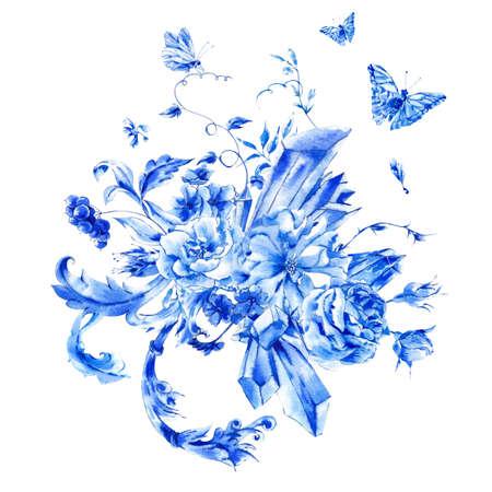 schmetterlinge blau wasserfarbe: Vintage Hand blau Aquarell Rosen gemalt, kostbare Kristalle und Schmetterlinge im Boho-Stil, Aquarell natürliche Grußkarte, Dekoration blau Natur Hintergrund Blume