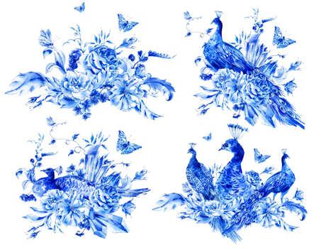 schmetterlinge blau wasserfarbe: Set von isolierten blauen Aquarell Blumen und Pfau mit Aquarell Rosen, Kristallen und Schmetterlinge im Boho-Stil, Dekoration botanische Blumensammlung