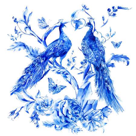 schmetterlinge blau wasserfarbe: Jahrgang blau Pfauenpaar mit Aquarell Rosen, Edel Kristalle und Schmetterlinge im Boho-Stil, Aquarell natürliche Grußkarte, Dekoration Natur Blume Hintergrund