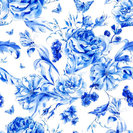 Vintage hand painted seamless pattern with blue watercolor roses and butterflies in boho style,watercolor natural greeting card, decoration blue nature flower background Archivio Fotografico