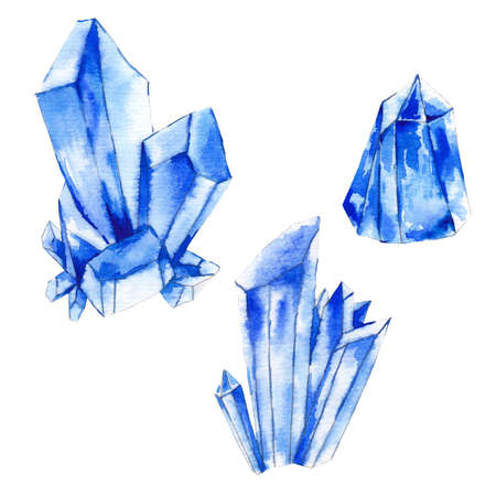 diamond shape: Set of watercolor crystals, natural decoration crystals collection, isolated illustration