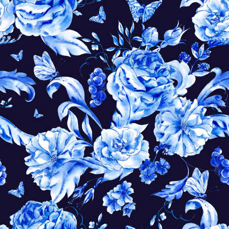Vintage hand painted seamless pattern with blue watercolor roses and butterflies in boho style,watercolor natural greeting card, decoration dark blue nature flower background