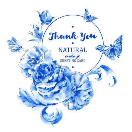 schmetterlinge blau wasserfarbe: Sommer Jahrgang runden Rahmen blauen Rosen und Schmetterlingen im Boho-Stil, natürliche Grußkarte, Dekoration blauen Rosen, Natur Blume Hintergrund