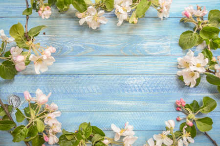 Rustic wood background with natural style decorations spring white blossom. Background space for text. Natural blue border background vintage mock up. Stockfoto