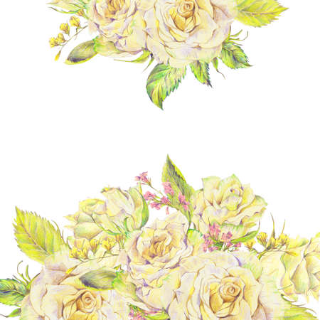 pencil drawing: Floral hand drawn bouquet with white roses and wild flowers, pencil drawing floral botanical illustration