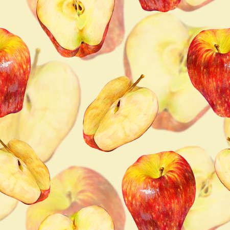 pomme rouge: Seamless avec des fruits tiré par la main pomme rouge. modèle alimentaire Eco. Vintage crayon naturel nourriture illustration Banque d'images