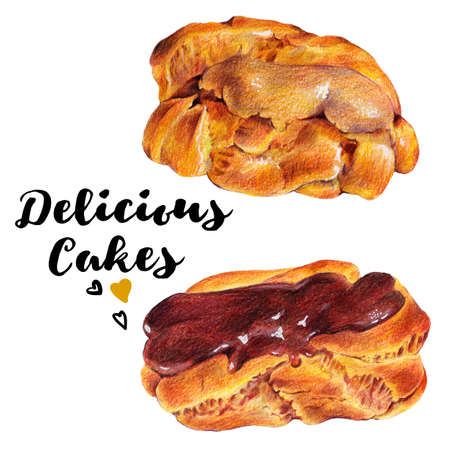 eclair: Hand drawn set of homemade delicious cakes eclairs with custard bakery dessert. Isolated organic food illustration on white background. Vintage bakery pencil food illustration