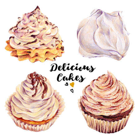 yogurt: Hand drawn set of homemade delicious cakes cupcakes with whipped cream and meringues dessert. Isolated organic food illustration on white background. Vintage bakery pencil food illustration