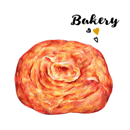 homemade bread: Hand drawn set of homemade fresh pitta bread. Isolated organic food illustration on white background. Vintage bakery pencil food illustration Stock Photo