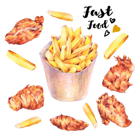 fried: Hand drawn fast food fried potatoes and nuggets. Isolated  food illustration on white background. Vintage Dinner time pencil food illustration