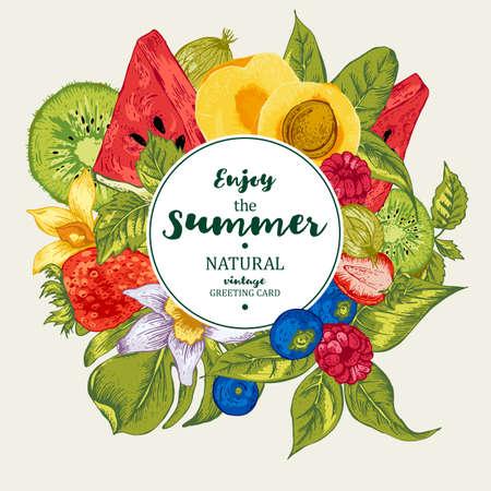 Vintage Tropical Summer naturel des aliments sains Eco Bannière avec la pastèque, l'abricot, le kiwi, la vanille et baies, Vector Nature Été exotique Menu Fruits Carte