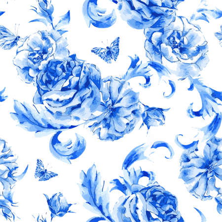 winter flower: Summer vintage seamless pattern blue roses and butterflies in boho style, natural greeting card, decoration blue roses, nature flower background