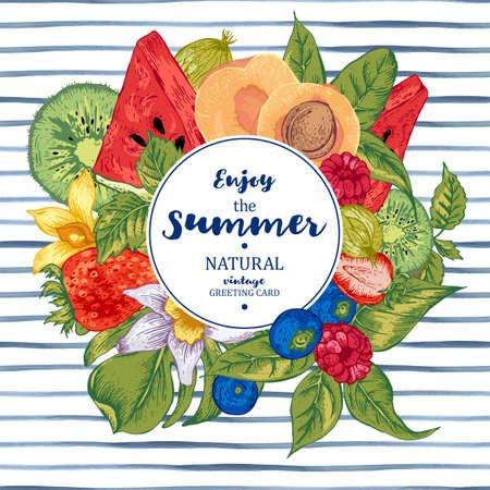 frutas tropicales: Natural Banner alimentos saludables de época de verano tropical con sandía, albaricoque, kiwi, la vainilla y bayas, frutas tarjeta del menú del vector naturaleza Verano en el fondo de rayas