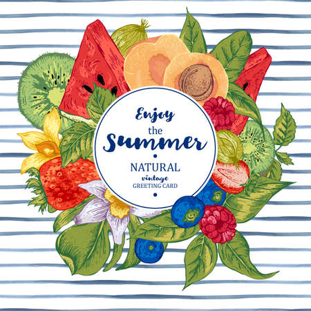 Tropical Summer Vintage Natural Healthy Food Banner with Watermelon, Apricot, Kiwi, Vanilla and Berries, Vector Nature Summer Menu Fruits Card on striped background