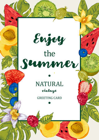 Tropical Summer Exotic Menu Fruits Card with Watermelon, Apricot, Kiwi, Vanilla and Berries, Vector Nature Vintage Invitation 向量圖像