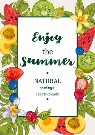 frutas tropicales: Verano Tarjeta tropical de las frutas del menú exótico con sandía, albaricoque, kiwi, la vainilla y bayas, vector Naturaleza de la invitación de la vendimia Vectores