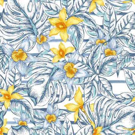 Gentle floreale naturale lascia esotici vector seamless, bianco e fiore giallo orchidea, foglie tropicali, botanico estate illustrazione su sfondo a righe