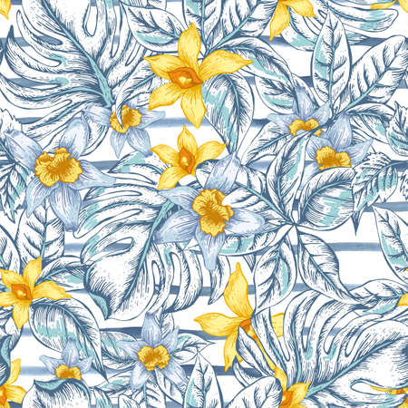 Gentle Natural floral leaves exotic vector seamless pattern, white and yellow flower orchid, tropical leaves, botanical summer illustration on striped background