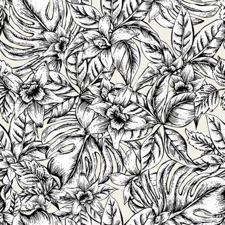 자연 꽃 나뭇잎 이국적인 벡터 원활한 패턴, 단색 꽃 난초, 흑백 열 대 나뭇잎, 흰색 배경에 식물 여름 그림 일러스트