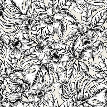 Natural floral leaves exotic vector seamless pattern, monochrome flower orchid, Black and white tropical leaves, botanical summer illustration on white background Vettoriali