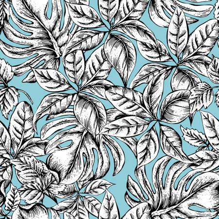 In bianco e nero d'epoca senza soluzione di continuità sfondo esotico con Tropical Leaves, bianco e nero illustrazione vettoriale floreale botanico Vettoriali