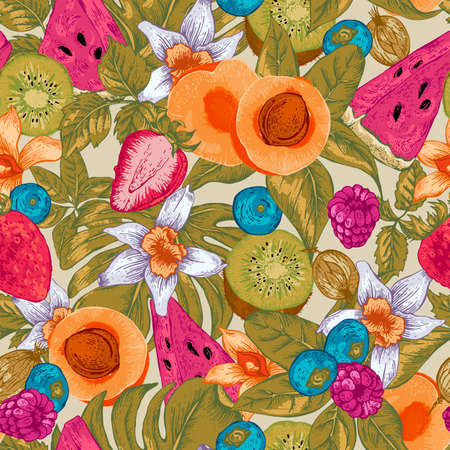 frutas tropicales: Vendimia verano tropical natural sano de Alimentos Eco de fondo sin fisuras con la sandía, albaricoque, kiwi, la vainilla y bayas, naturaleza Verano del vector tarjeta de frutas exóticas Menú Vectores