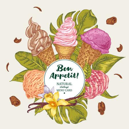 vecteur Tropical été écosystème naturel nourriture fond avec douce crème glacée italienne de fruits, été Bon exotique carte de menu appetit