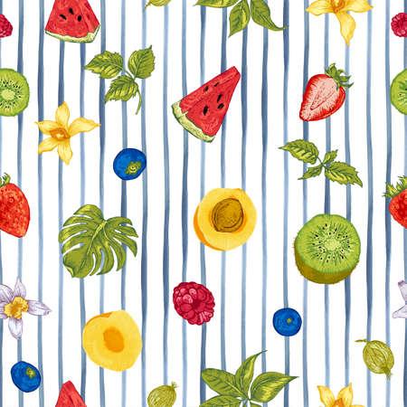 Tropical Summer Vintage aliments sains naturels Eco Seamless avec pastèque, abricot, kiwi, vanille et baies, Vector Nature été Menu exotique fruits carte sur fond rayé