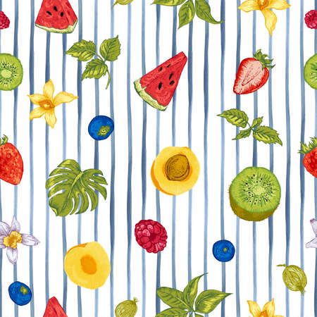 summer fruits: Tropical Summer Vintage Natural Healthy Food Eco Seamless Background with Watermelon, Apricot, Kiwi, Vanilla and Berries, Vector Nature Summer Exotic Menu Fruits Card on striped background