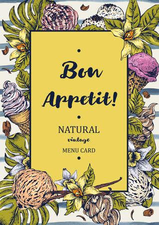 Menu fruits carte crème glacée invité. été Tropical fleurs colorées d'orchidée et de vanille. Bon appetit vecteur vintage illustration nourriture sur fond rayé.