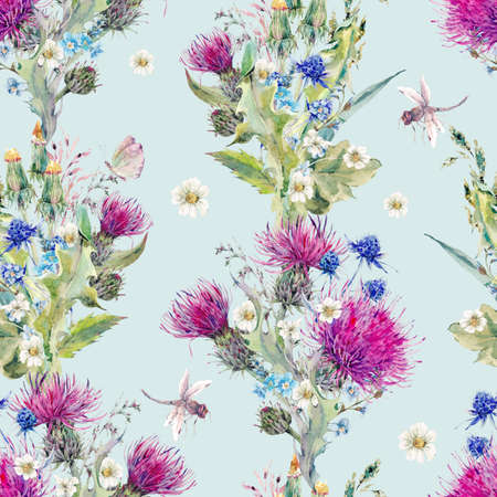 wild meadow: Summer natural meadow watercolor seamless floral pattern with wild flowers, thistles, dandelions, meadow herbs, chamomile and a dragonfly. Botanical Vintage isolated watercolor pattern Stock Photo
