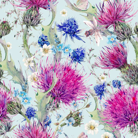 wild meadow: Summer natural meadow watercolor seamless floral pattern with wild flowers, thistles, dandelions, meadow herbs, chamomile and a dragonfly. Botanical Vintage watercolor pattern