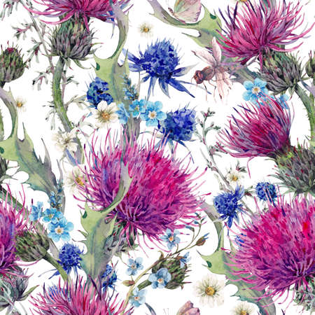 Summer natural meadow watercolor seamless floral pattern with wild flowers, thistles, dandelions, meadow herbs, chamomile and a dragonfly. Botanical Vintage watercolor pattern
