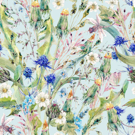 ingredient: Summer natural herbal watercolor seamless floral pattern with wild flowers, thistles, dandelions, meadow herbs, chamomile and a dragonfly. Botanical meadow vintage watercolor pattern