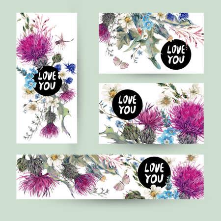ビンテージのテンプレートは、ハーブのグリーティング カードを設定します。咲く草原の花アザミ、タンポポ、草原ハーブ、カモミール、トンボ、