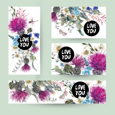 Vintage templates set herbal greeting card. Blooming Meadow Flowers-Thistles, Dandelions, Meadow Herbs, Chamomile and Dragonfly, Love you vector botanical illustration. Floral design elements