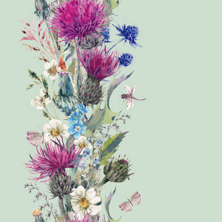 Vintage vertical herbal seamless border with Blooming Meadow Flowers-Thistles, Dandelions, Meadow Herbs, Chamomile and Dragonfly. Botanical Floral Vector Vintage Isolated Illustration on Mint  イラスト・ベクター素材
