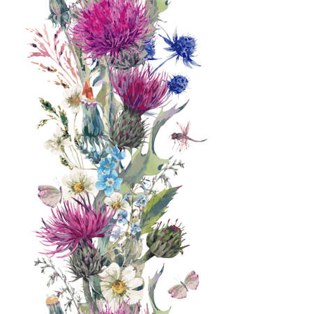 Vintage vertical herbal seamless border with Blooming Meadow Flowers-Thistles, Dandelions, Meadow Herbs, Chamomile and Dragonfly. Botanical Floral Vector Vintage Isolated Illustration on White Illustration