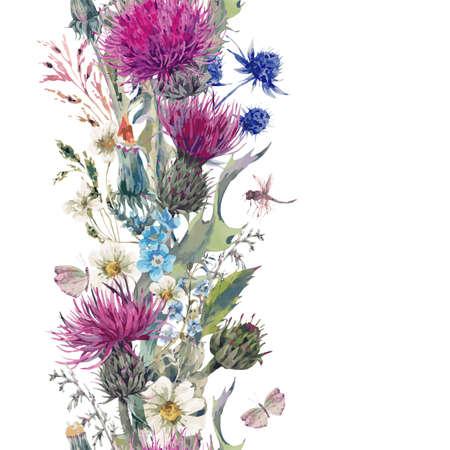 Vintage verticale kruiden naadloze grens met bloeiende weide Bloemen-Distels, Paardebloemen, Weide Kruiden, Kamille en Dragonfly. Botanisch Bloemen Vector Vintage geïsoleerde illustratie op wit
