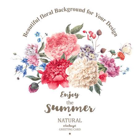 牡丹の庭の花、植物自然牡丹図白のビンテージ花の花束。夏花牡丹グリーティング カード