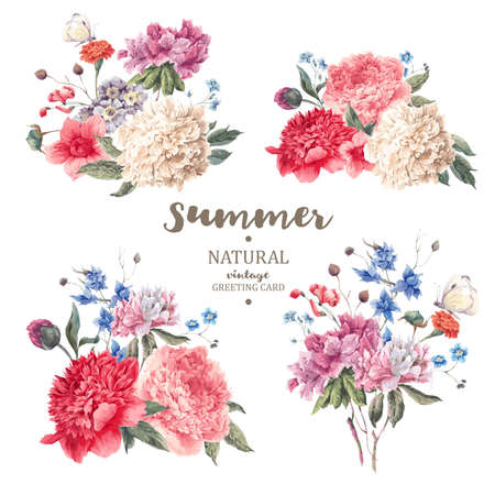donna farfalla: Set di epoca bouquet floreale di peonie e fiori da giardino, botanico peonie naturali Illustrazione su bianco. Estate peonie floreali biglietto di auguri Vettoriali