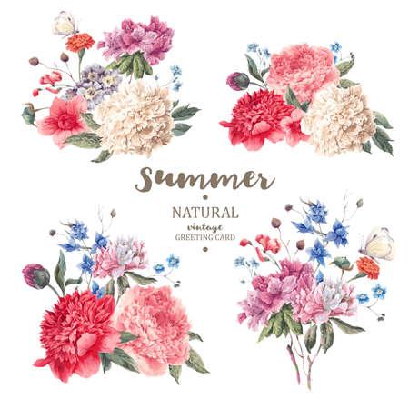 femme papillon: Set vintage bouquet floral de pivoines et de fleurs de jardin, botanique pivoines naturelles Illustration sur blanc. Été pivoines floraux carte de voeux Illustration