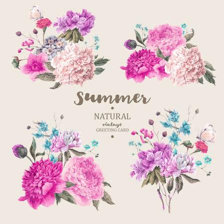 Set van vintage bloemenboeket van pioenen en tuin bloemen, de botanische natuurlijke pioenen Illustratie op een witte. Zomer bloemen pioenen wenskaart Stock Illustratie
