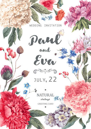 Vintage floral wedding invitation with peonies and garden flowers, botanical natural peonies Illustration. Summer floral peonies greeting card Illusztráció