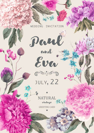 Vintage floral wedding invitation with peonies and garden flowers, botanical natural peonies Illustration. Summer floral peonies greeting card Illustration
